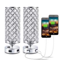 USB Crystal Bedside Lamp Table Lamp with Dual USB Charging Ports Set of 2, Kakanuo Modern Nightstand Lamp Bedroom Lamp Table Lamp for Bedroom, Living Room, Study Room and Office (Set of 2)
