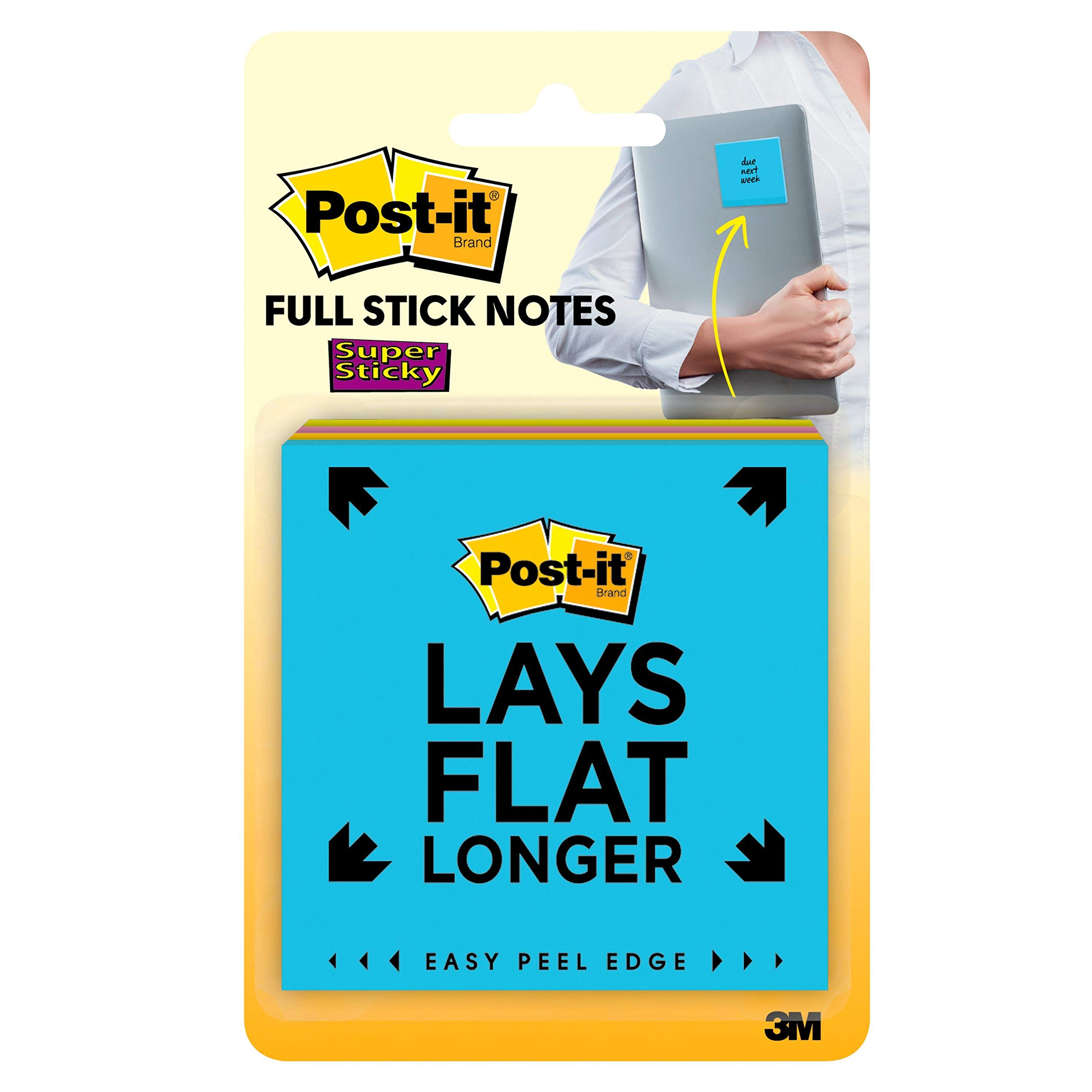 Post-it Super Sticky Full Adhesive Notes, 2x Sticking Power, 3 in x 3 in, Rio de Janeiro Collection, 4 Pads/Pack (F330-4SSAU)