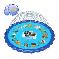 """gebra Splash Pad,2021 Upgraded 76.8"""" Sprinkler Mat Inflatable Outdoor Pirate Design Swimming Pool Garden Fun Water Play Mat Toys for Baby Children Toddler Adults Girls and Boys Pets Activities"""