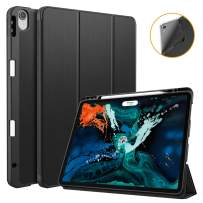Fintie SlimShell Case for iPad Pro 12.9 3rd Gen 2018 [Supports 2nd Gen Pencil Charging Mode] - Soft TPU Back Protective Cover with Built-in Pencil Holder, Auto Wake/Sleep (Black)