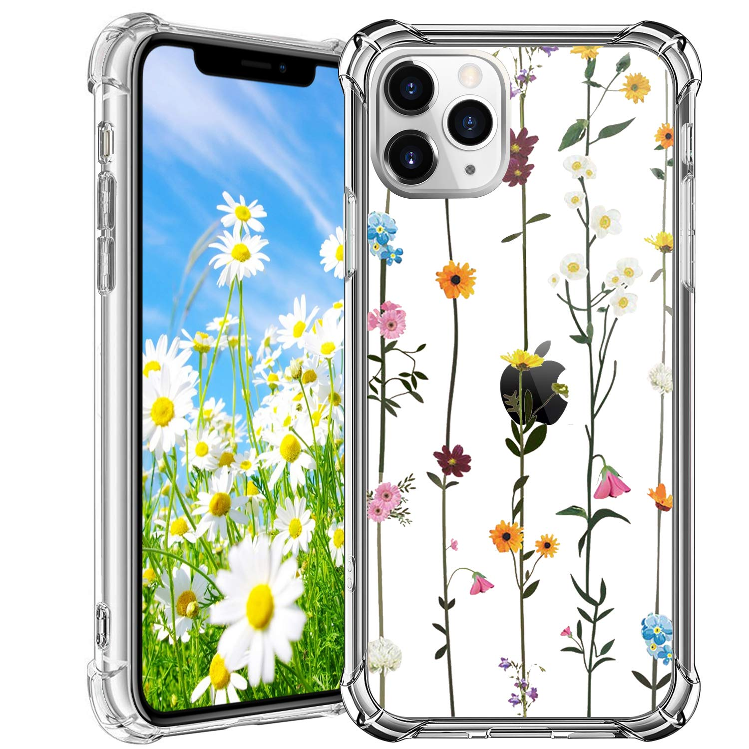 """HBorna Clear iPhone 11 Pro Max Case with Embossed Floral Pattern, Soft Flexible Silicon Phone Case for 6.5"""" iPhone 11 Pro Max"""