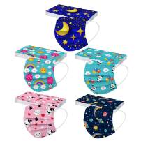 [US Stock] Kids Disposable Face Mask 3 Ply 50pcs Cute Print Masks for Kids Child Disposable Breathable by MASZONE (H2- Kids, 50 Pack)