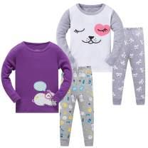 AmberEft Pajamas for Girls Kids Clothes Toddler PJs 100% Cotton Pyjama 4-Piece Sleepwear 2-8 Years