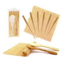 BambooMN 10 Piece Complete Sushi Making Kit 2X Bamboo Rolling Mats, 1x Rice Paddle, 1x Spreader and 6 Pairs Yellow Flowers Chopsticks