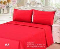 Tache 3 Piece Soft Cool Breathable Cotton Solid Fade Resistant Crimson Red Top Flat Bed Sheet Only, Full