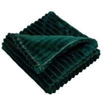 NTBAY Flannel Fuzzy Toddler Blanket, Fluffy Warm and Lightweight Reversible Stripes Design Baby Plush Blanket, 30 x 40 Inches, Dark Green