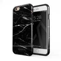 BURGA Phone Case Compatible with iPhone 6 / 6s - Noir Origin Black Marble Cute Case for Women Heavy Duty Shockproof Dual Layer Hard Shell + Silicone Protective Cover