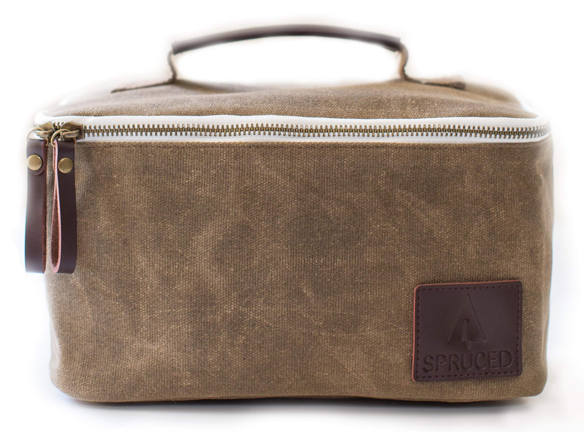 Lunch Box for Adults, Men, Women, Kids | Insulated Cooler Bag | Waxed Canvas and Genuine Leather | Reusable, Eco Friendly | Stylish, Classic Look (Alpine Green)