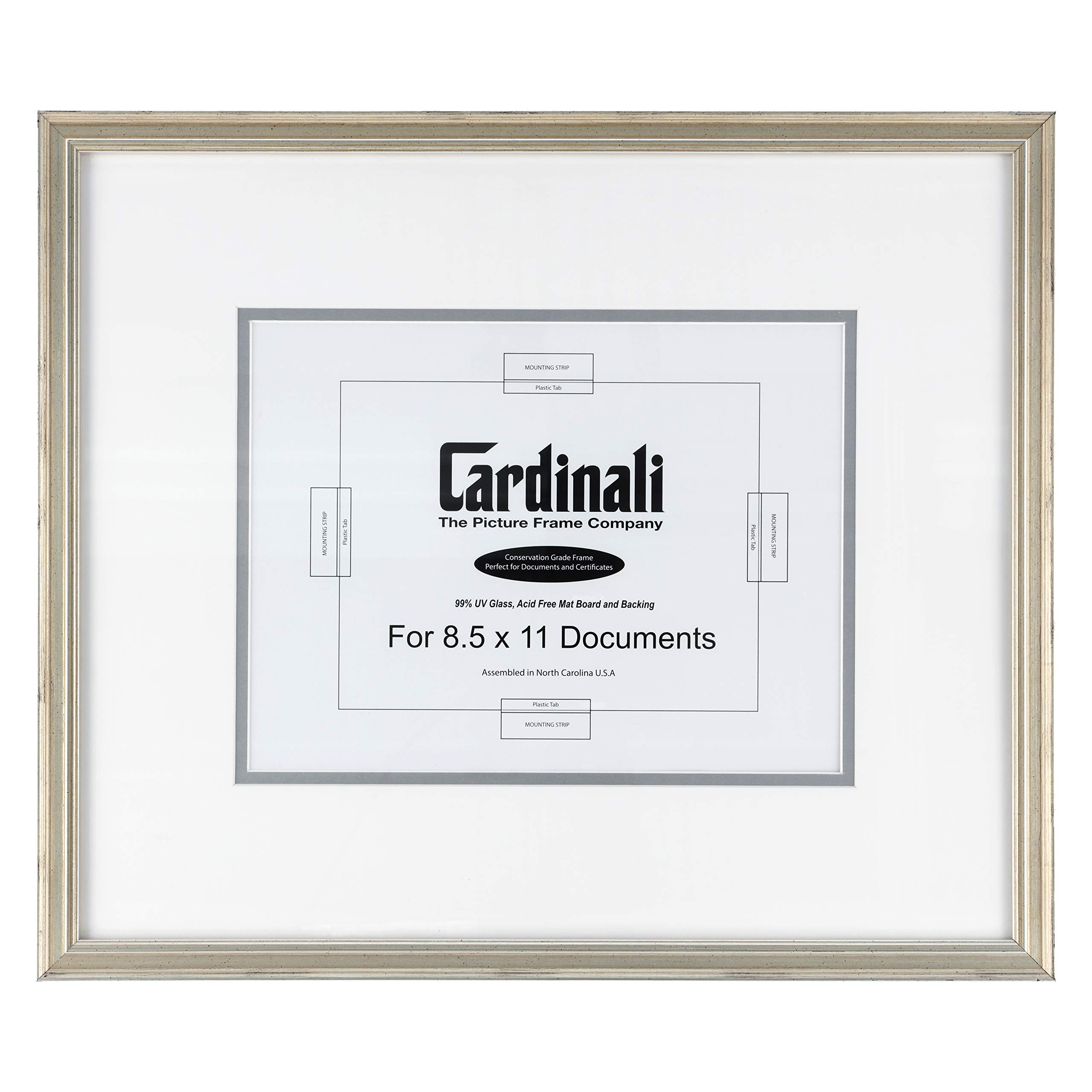 """Cardinali Diploma Frame - Archival University College Graduation High School Diploma, Document, Certificate Frame Glass & Hanging Hardware - Warm Silver - 8.5""""x11"""" Opening, Frame Size 18""""x15.5"""""""