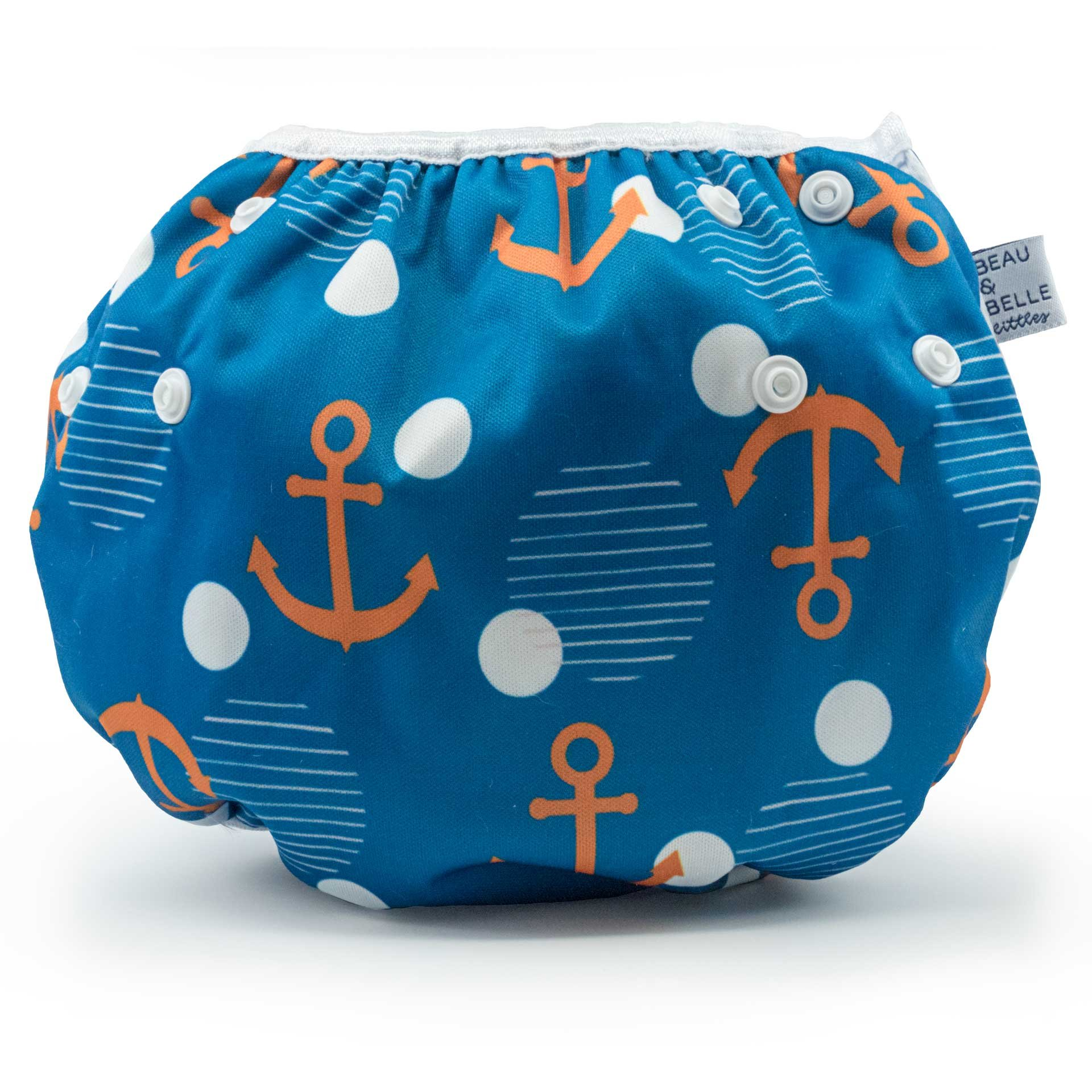 Large Nageuret Reusable Swim Diaper, Adjustable & Stylish Fits Diapers Sizes 4-7 (Approx. 20-55lbs) Ultra Premium Quality for Eco-Friendly & Swimming Lessons (Anchors)