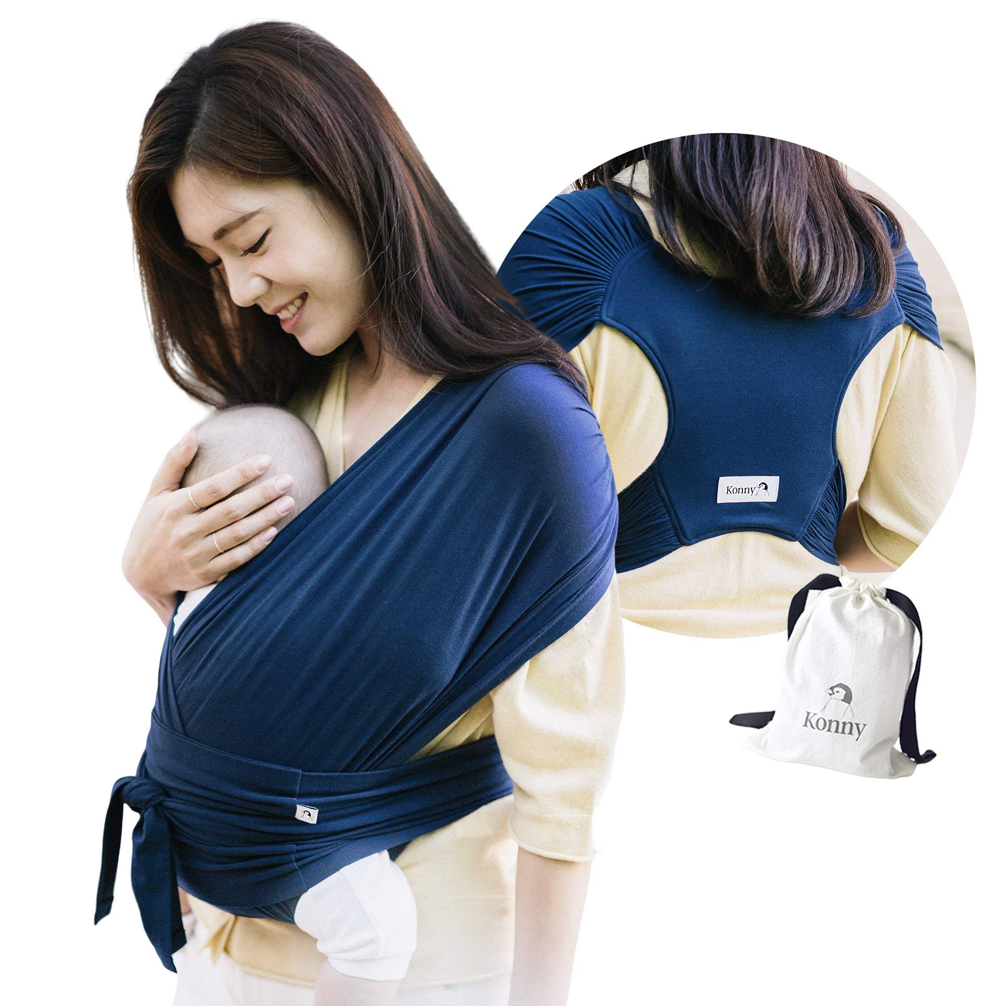 Konny Baby Carrier | Ultra-Lightweight, Hassle-Free Baby Wrap Sling | Newborns, Infants to 44 lbs Toddlers | Soft and Breathable Fabric | Sensible Sleep Solution (Navy, XL)