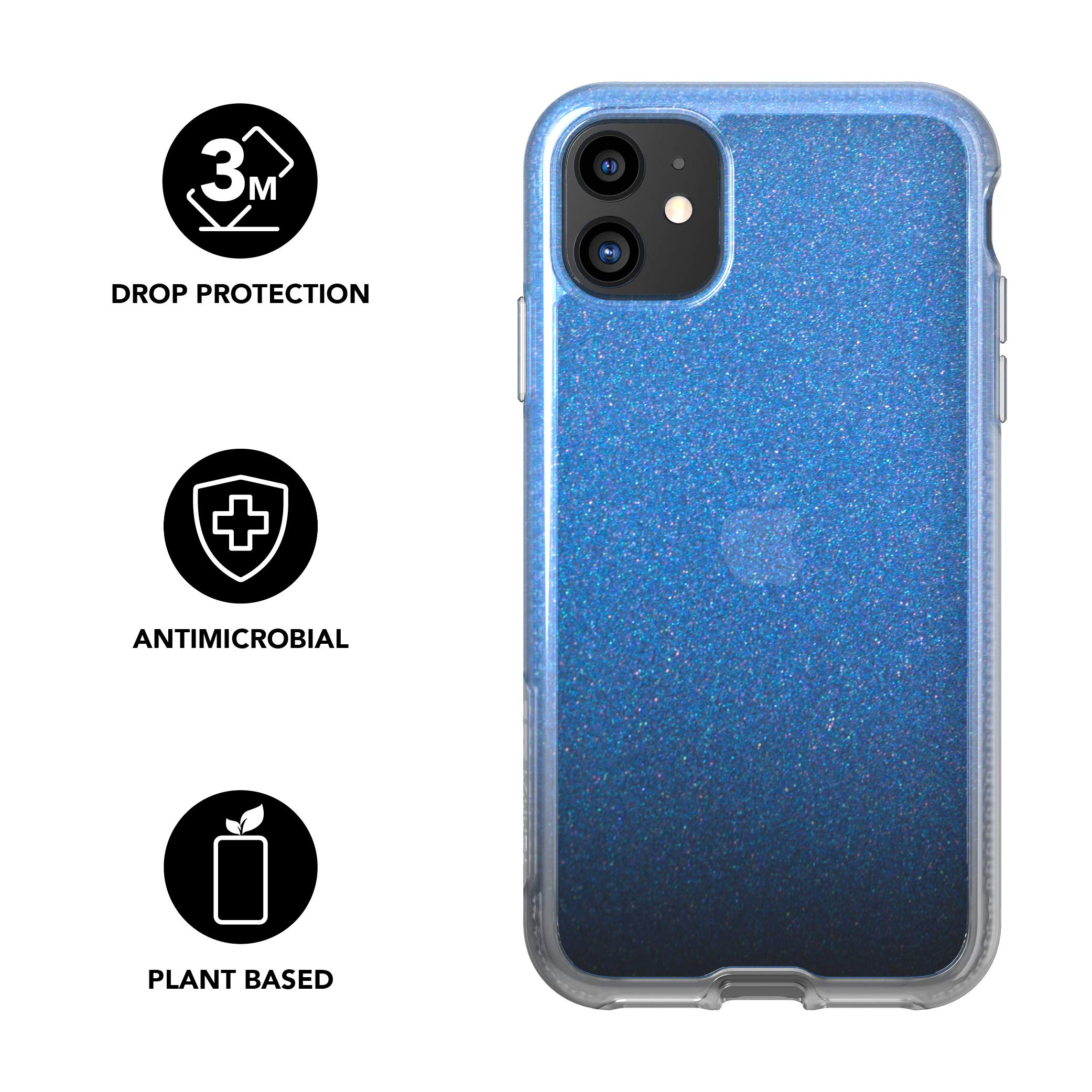 tech21 Pure Shimmer Mobile Phone Case - Compatible with iPhone 11 - Ultra Thin, Shimmer Effect with Anti-Microbial Properties and Drop Protection, Blue