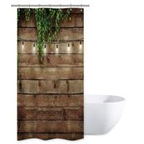 Riyidecor Rustic Shower Curtain Wood Bran Door Wooden Green Leaves Antique Brown Wall Board Retro Bathroom Home Decor Set Waterproof Polyester 36x72 Inch 7 Pack Plastic Hooks