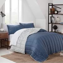 IZOD Reversible and Classic Color with Extra Softness Quilt Set, King, Navy