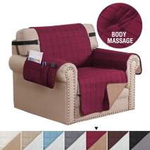 """H.VERSAILTEX Reversible Foam Quilted Non-Slip Furniture Protector with Side Pockets, 2"""" Straps Covers for Dogs, Water-Repellent Sofa Slipcover, Seat Width Up to 24"""", (Chair: Burgundy/Tan)"""