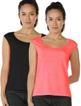icyzone Yoga Tops Activewear Sleeveless Workout Running Shirts Flowy Tank Tops for Women(Pack of 2)