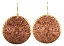 Touchstone New Indian Bollywood Desire Finely 3 Toned Handcrafted Basket Weave Wire Concentric Pretty Look Designer Jewelry Earrings for Women
