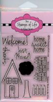 Super Cute House Stamps for Card-Making and Scrapbooking Supplies by The Stamps of Life - Houses4UsTwo Sentiments