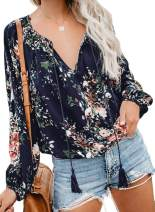 BLENCOT Womens Plus Size Winter Long Sleeve Tops Floral V Neck Blouses Flare Stretchy Tunic Shirts Work Blue XXXL