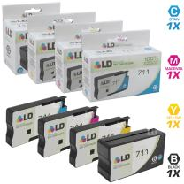 LD Remanufactured Ink Cartridge Replacement for HP 711 (1 Black, 1 Cyan, 1 Magenta, 1 Yellow, 4-Pack)