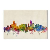 Charlotte Watercolor Skyline by Michael Tompsett, 22x32-Inch Canvas Wall Art