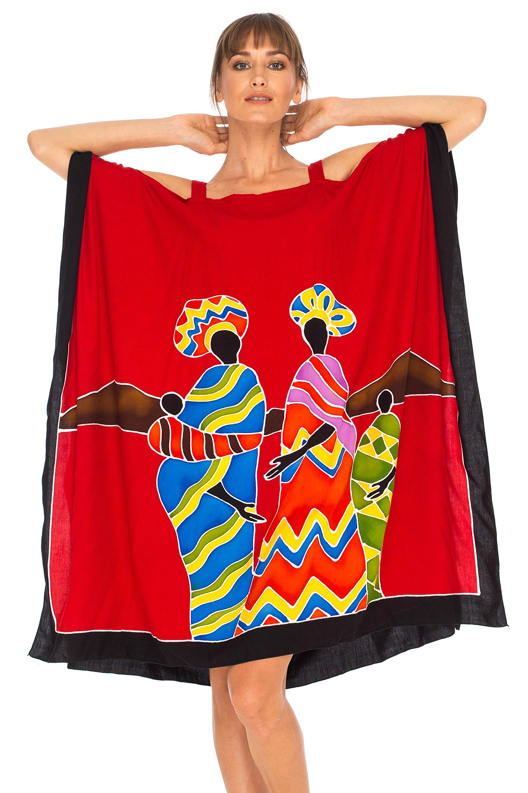 SHU-SHI Womens Poncho Dress Kaftan Cold Shoulder Short Tribal Tunic Swimwear Cover Up Plus Size Kaftan Dress Hand Painted Design Red