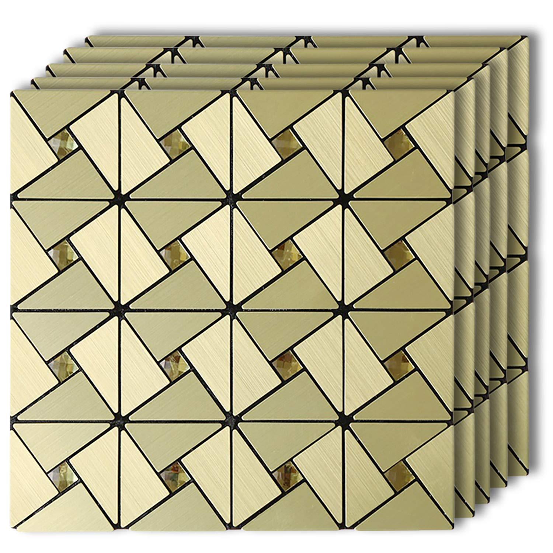 "HomeyMosaic Peel and Stick Tile Backsplash Stick on Wall Decor Kitchen Bathroom Metal Mosaic Smart Tile Sticker,Gold Windmill Puzzle Glass Mixed Aluminum Surface(12""x12""x 5 Sheets)"