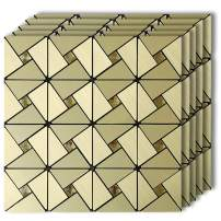 "HomeyMosaic Peel and Stick Tile Backsplash Stick on Wall Decor Kitchen Bathroom Metal Mosaic Smart Tile Sticker,Gold Windmill Puzzle Glass Mixed Aluminum Surface(12""x12""x 5 Sheets)"