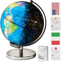 """9""""Educational LED Illuminated Spinning Children World Globe with Stand Plus a Bonus Card Game. 3 in 1 Interactive Desktop Earth Globe for Kids - Night Light Lamp, Political Map and Constellation View"""