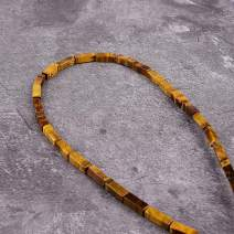 "Asingeloo 30PCS 4X13mm Natural Yellow Tiger Eye Gemstone Loose Beads Tube Energy Stone Healing Power for Jewelry Making 15.5"" a Strand"