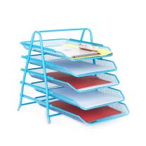 Mind Reader 5TPAPER-BLU 5 Tier Letter Tray Pull Out Drawer Organizer, Folders, Files, Documents, Mail, Blue