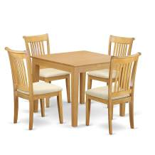 5-Piece Dinette table set - Table and 4 cushion seat dining chairs in Oak finish