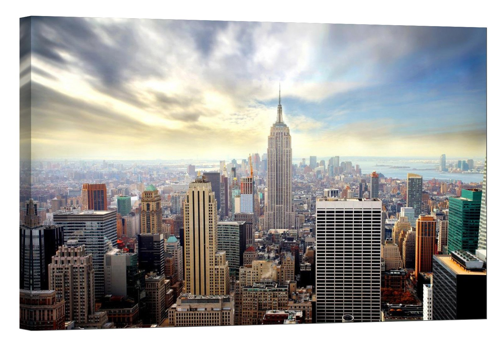 LightFairy Glow in The Dark Canvas Painting - Stretched and Framed Giclee Wall Art Print - City Urban Decor Empire State Building - Master Bedroom Living Room Decor - 6 Hours Glow - 36 x 24 inch