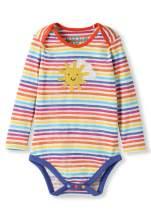 Organic Cotton Baby Bodysuit Girl Boy - Sunshine Applique Rainbow Stripes (0-3 Years)