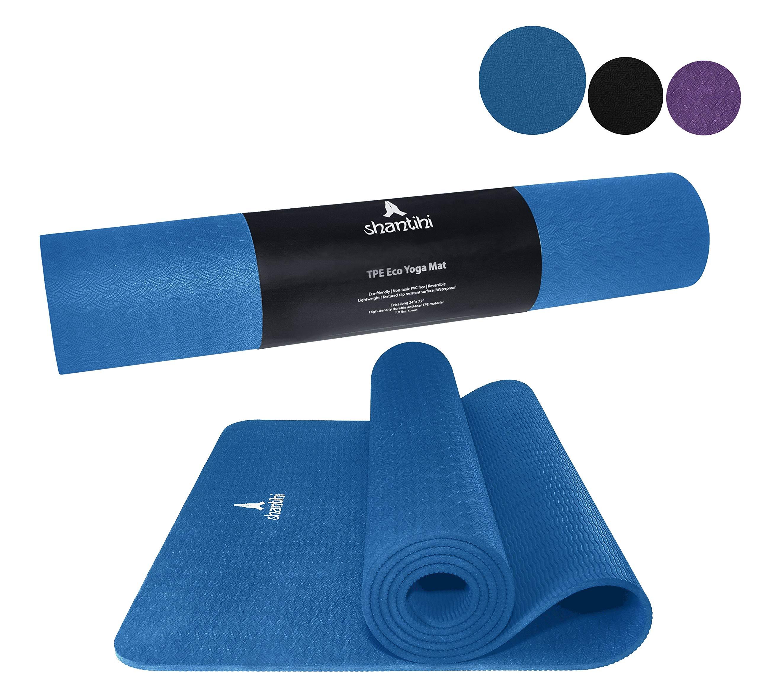 "Shantihi Yoga Mat - Thick Eco Friendly Premium TPE Yoga Mat. Non Slip, Reversible, Lightweight, Durable Exercise Pilates Mat. Free Bonus eBook. 72""x24"", 5mm."