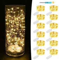 MUMUXI 12 Pack Fairy Lights Battery Operated (Included) 7.2Ft 20 LED Mini Waterproof Fairy String Lights Silver Wire Firefly Starry Lights for DIY Wedding Party Mason Jars Christmas Decor, Warm White