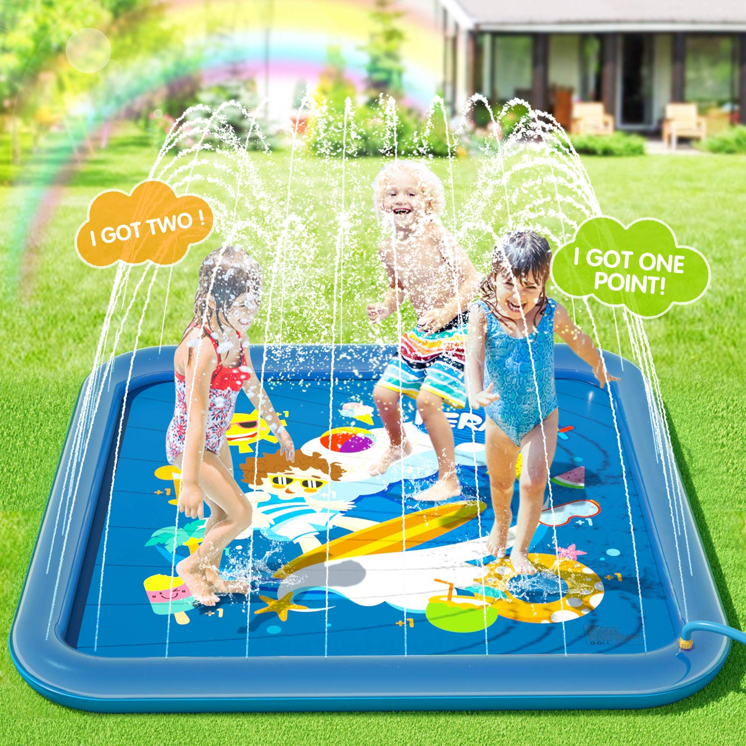 Peradix Water Sprinkler Pad for Kids, Upgraded 68' Summer Outdoor Water Toys Wading Pool Splash Play Mat for Toddlers Baby, Outside Water Play Mat for 1-12 Years Old Children Boys Girls(Square)