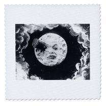 3dRose qs_6812_10 A Trip to The Moon 1902-Quilt Square, 25 by 25-Inch