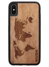 Wooden Phone Case (World Map in Mahogany) Compatible with iPhone Xs Max, iPhone 10s Max
