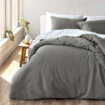 "Welhome Cozy 100% Cotton Percale Washed Reversible Duvet Cover Set - King Size (Pewter)- 108"" x 92"" - Cool - Lightweight - Supersoft - Breathable - Machine Washable"