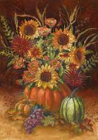 Toland Home Garden Fall Burst 12.5 x 18 Inch Decorative Colorful Autumn Harvest Pumpkin Sunflower Garden Flag