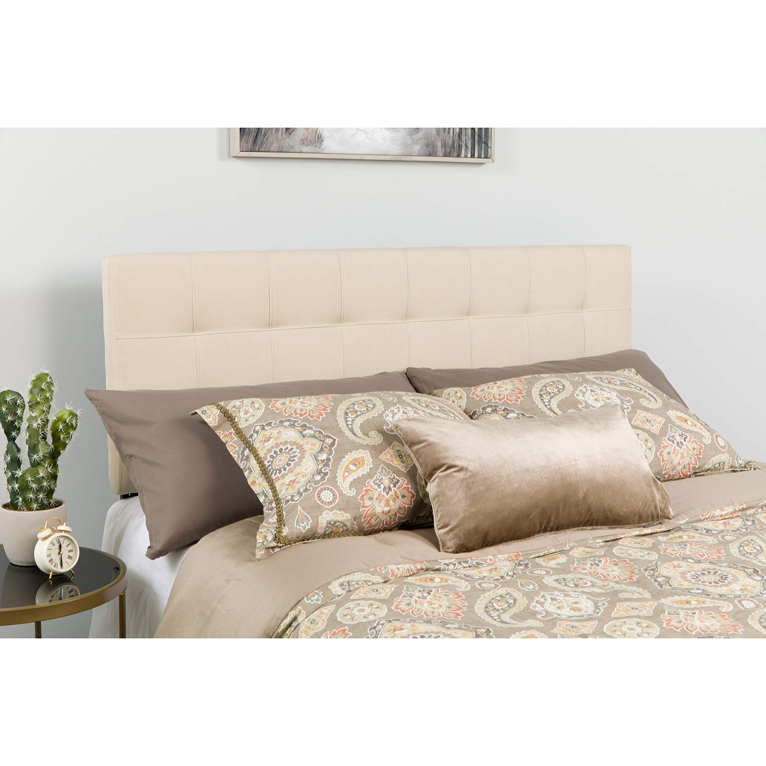 Flash Furniture Bedford Tufted Upholstered Twin Size Headboard in Beige Fabric