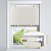 """LazBlinds No Tools-No Drill 1"""" Aluminum Horizontal Mini Blinds Shades for Window Size 28'' W x 64'' H, Light Filtering Inside Installation, Cream"""