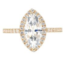 2.48ct Brilliant Marquise Cut Halo Statement Solitaire Ring Real 14k Yellow Gold, Clara Pucci