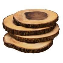Villa Acacia 9 Inch Wood Serving Platter Set of 4, Natural Raw Bark Edge Tray Rounds