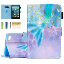 Dteck Case for Amazon Fire 7 Tablet (9th Generation 2019 & 7th Generation 2017 & 5th Generation 2015) - Protective Smart Stand Pretty Flip Leather Cover Case with Auto Sleep Wake (Beautiful Mermaid)