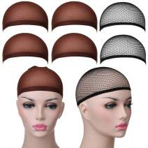 Elisel 6 Pack Nylon Wig Caps for Women, Unisex Stretchy Wig Caps(Black Mesh&Brown Caps)