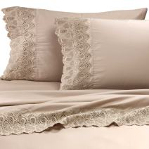 "RENAURAA 600 Thread Count Cotton Rich, 4 Piece Sheet Set, 16"" Deep Pocket, Lace Hem, Soft & Smooth Sateen Weave, Hotel Quality (Linen, California King)"