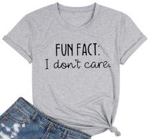 Fun Fact T Shirt for Women I Don't Care Shirts Cheerful Letter Print Tee Casual Fall Humorous Funny Saying Tops