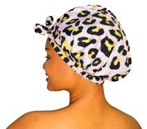 Luxury Shower Cap For Women & Girls - Reusable, Mold Resistant, Waterproof, Washable & Breathable. Best For All Hair Lengths. Cute Stylish Animal Print Bath Cap - By Grace & Company (Lucie)